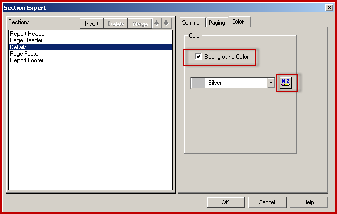 3. crystal reports export to Excel - Section expert background color details