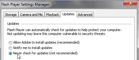 SAP dashboards Flash Player Settings - never