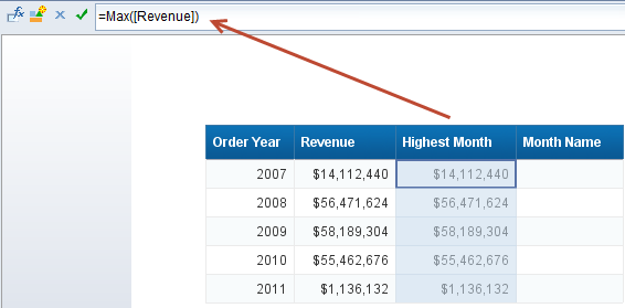 4. modifying context to customize Web Intelligence calculations - Max Revenue